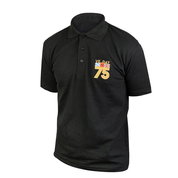 Poppyscotland Contrast VE Day Embroidered Black Polo Shirt