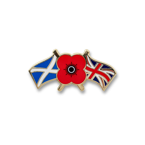 Poppyscotland Double Flags Pin Badge B