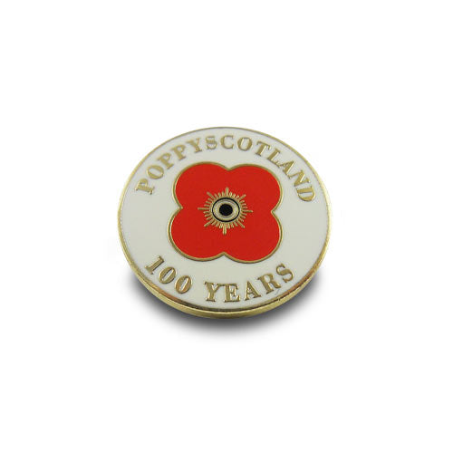 100 Year White Pin Badge