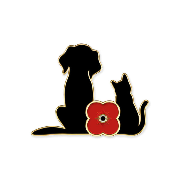 poppyscotland cat and dog pin badge 20m