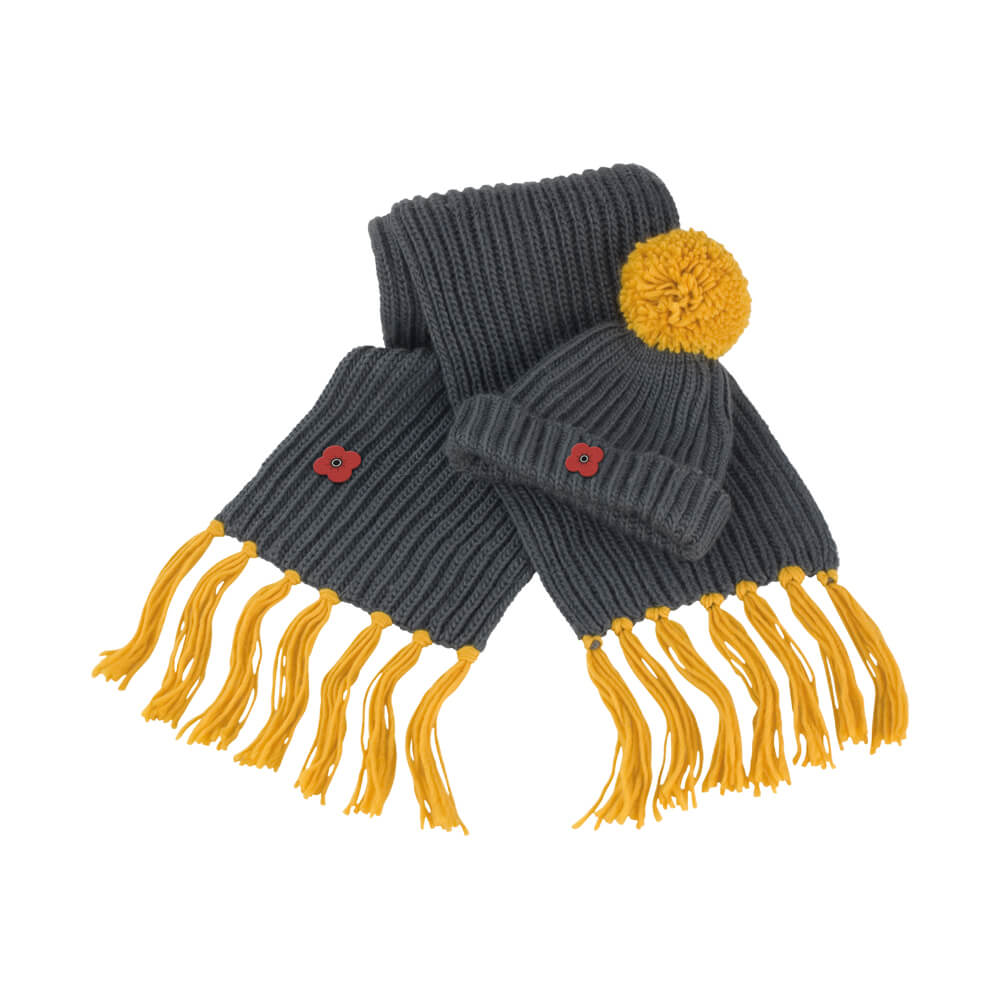 poppy scotland chunky knit set - hat and scarf