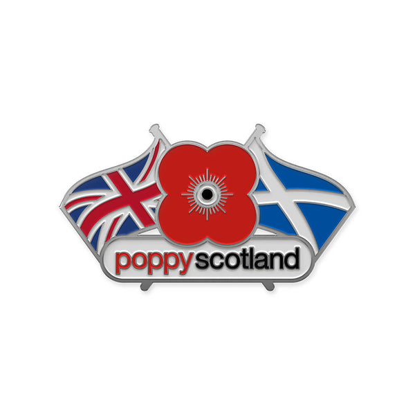 poppyscotland double flag pin badge 20k