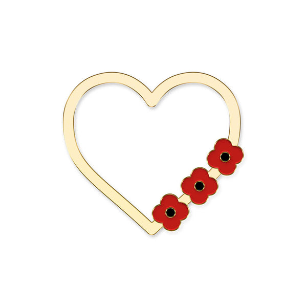 poppyscotland poppy heart pin badge 30D
