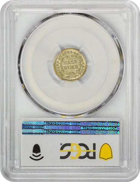 1849/6 H10C 9 Over Widely Placed 6 AU55 PCGS CAC - ParadimeCoins