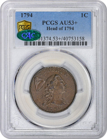 1794 1C S-26 HEAD OF 94 AU53+ PCGS CAC - ParadimeCoins