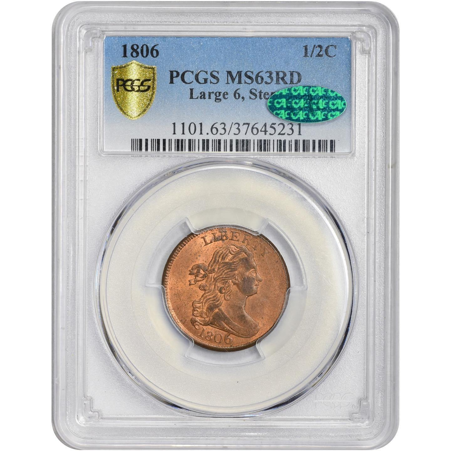 1806 1/2C MS63RD PCGS CAC - ParadimeCoins