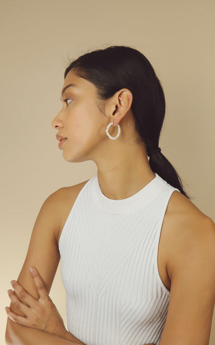 Clara - Pearl Hoop Earrings - Malaia Jewelry
