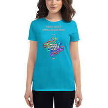Load image into Gallery viewer, Ladies 'Music Happens Here' fashion t-shirt