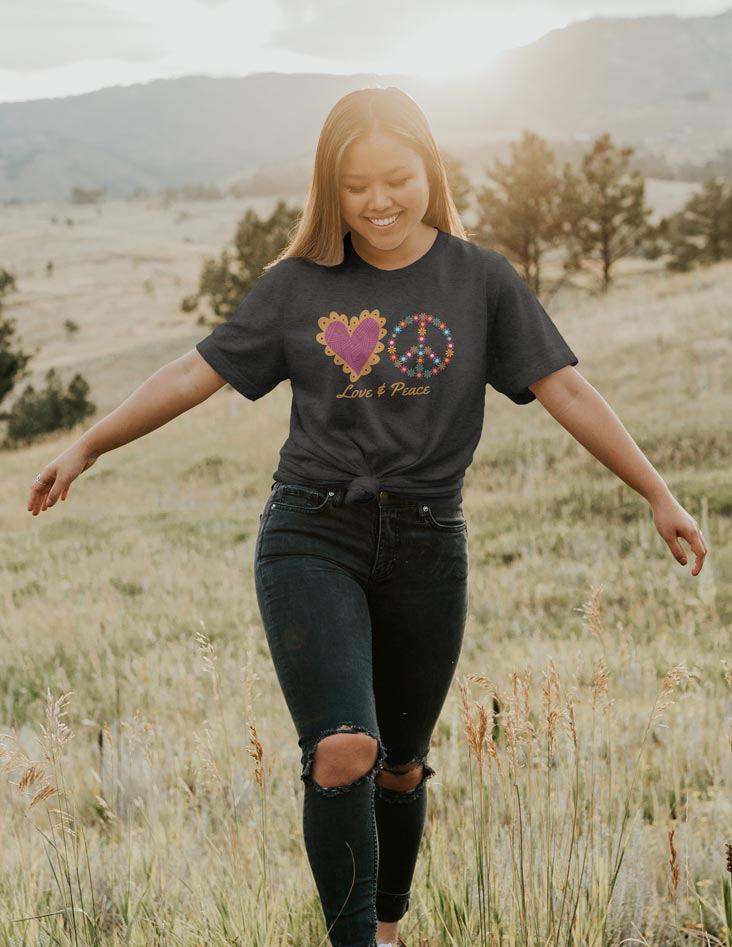 Love & Peace - Positive Everyday Unisex Fit T-Shirt