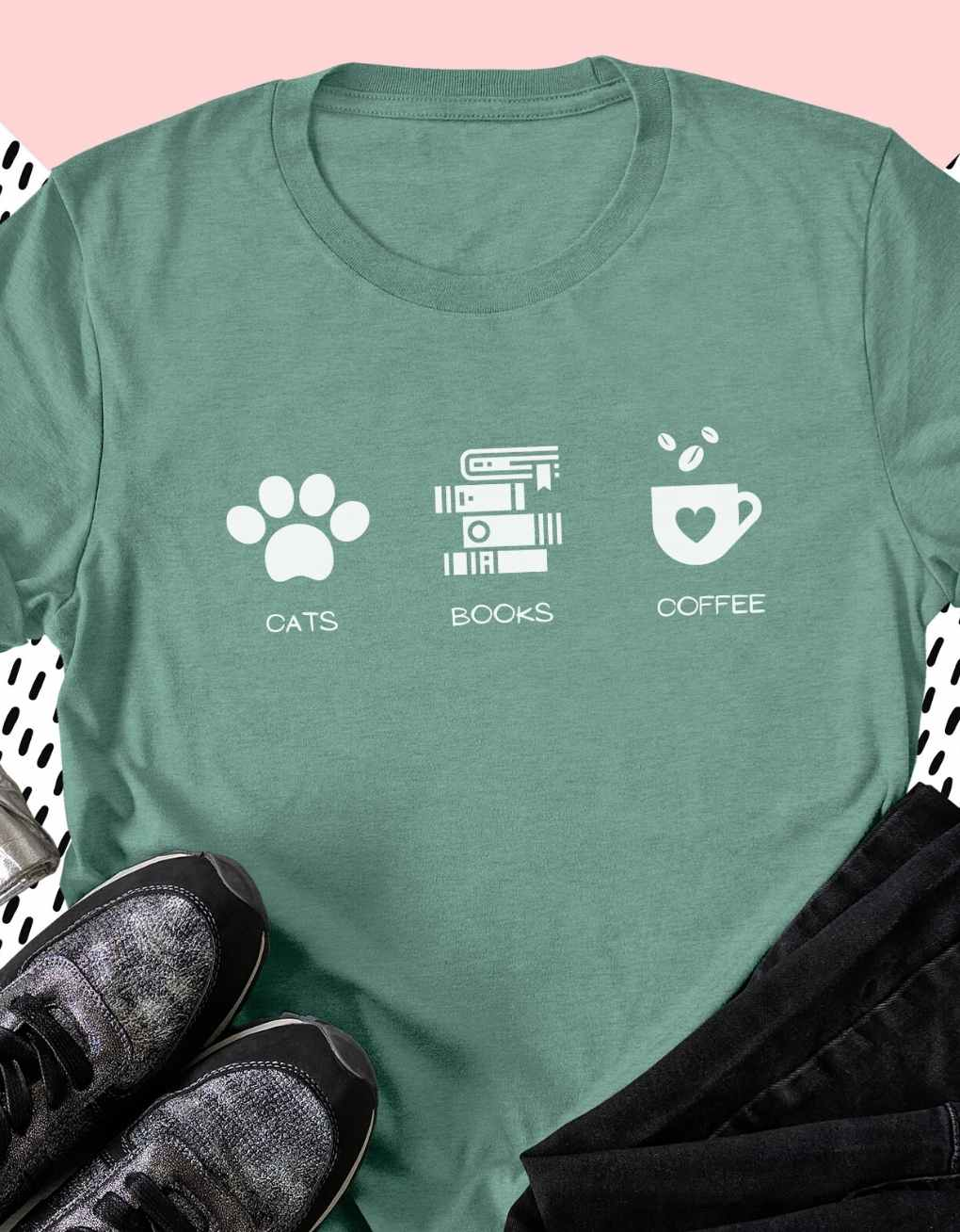 Cats Books Coffee - Luxury Unisex Fit T-Shirt