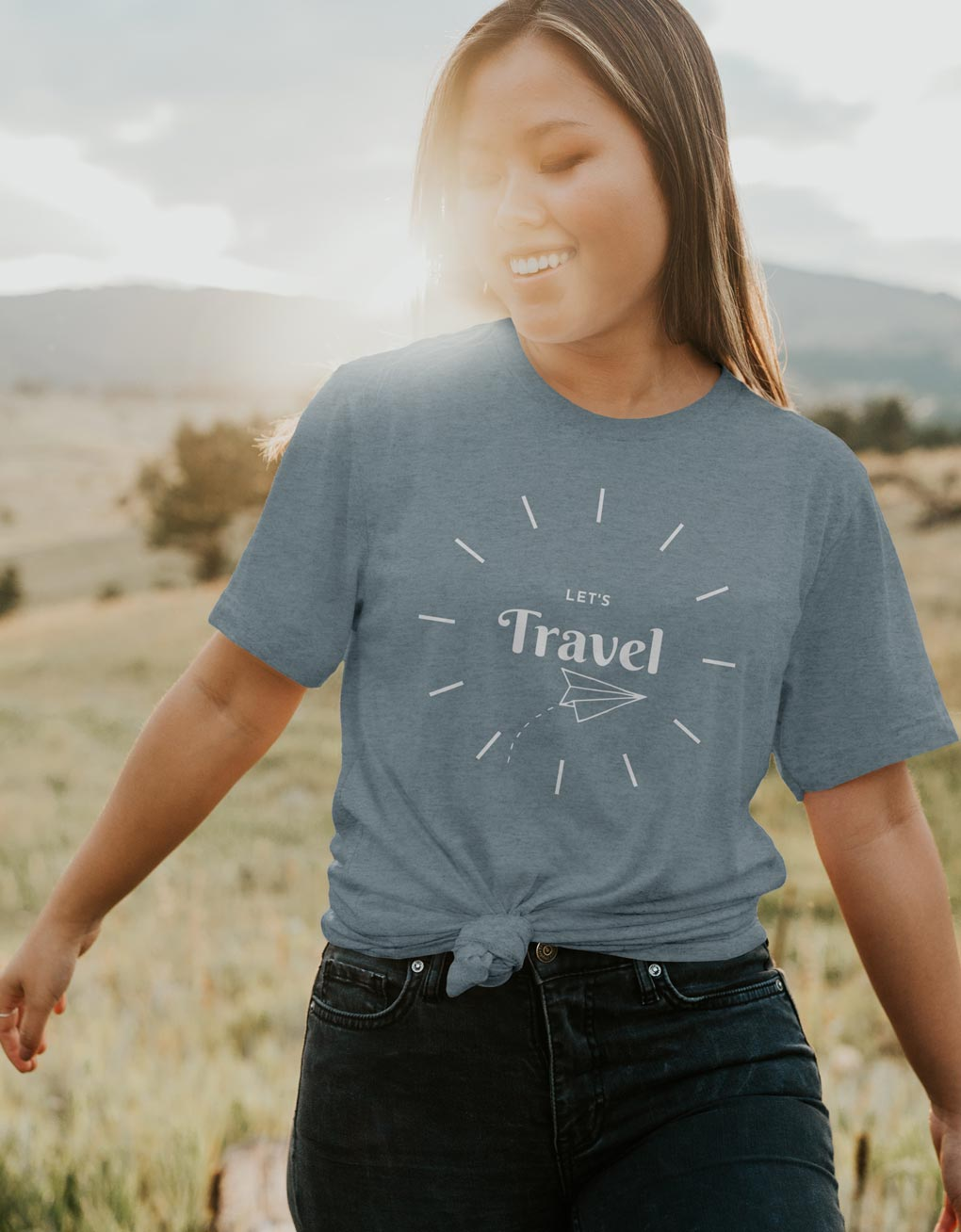 Women's cool travel T-shirt NZ with white printed graphic