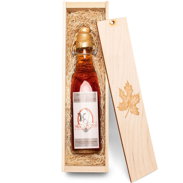 NH Maple Syrup Flute in a Wooden Box
