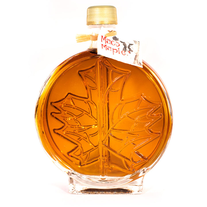 Mac's Maple Modern Round Leaf Glass Bottle Maple Syrup