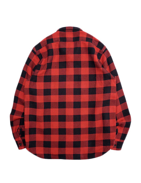 8HU Buffalo Check Flannel Shirt in Red/Black-Shirting-The Real McCoy's-General Quarters