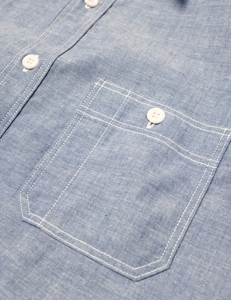 8HU Serviceman Shirt in Blue Chambray-Shirting-The Real McCoy's-General Quarters