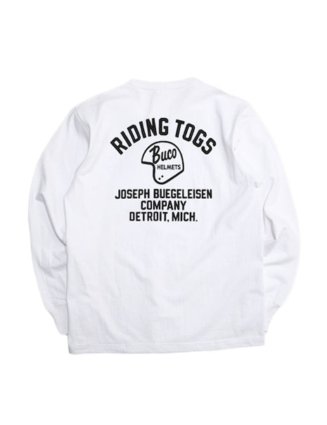 Buco Riding Togs Long Sleeve T-Shirt in White-T-Shirts-The Real McCoy's-General Quarters