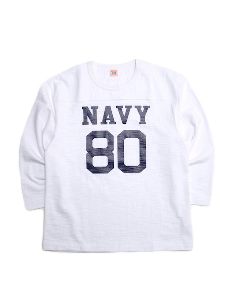 Military Football T-Shirt in White-T-Shirts-The Real McCoy's-General Quarters
