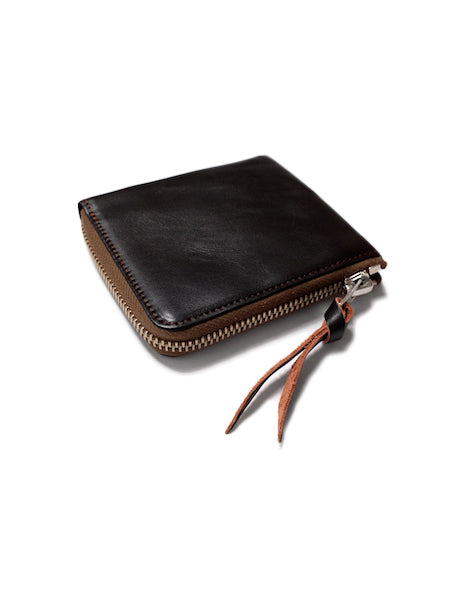 Rigid Horsehide Zip Wallet in Brown-Accessories-The Real McCoy's-General Quarters