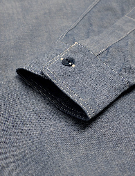 USN Chambray Shirt in Blue-Shirting-The Real McCoy's-General Quarters