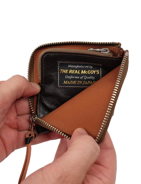 The Real McCoy's Rigid Horsehide Zip Wallet in Brown