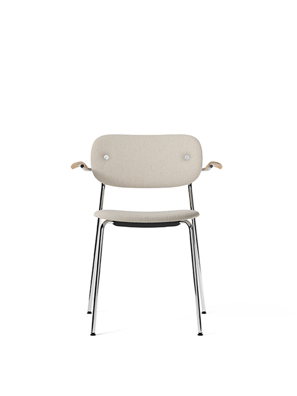 Co Chair, fully upholstered with armrest, Chrome