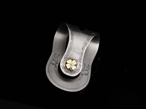 4 Leaf Clover Money Clip 18K