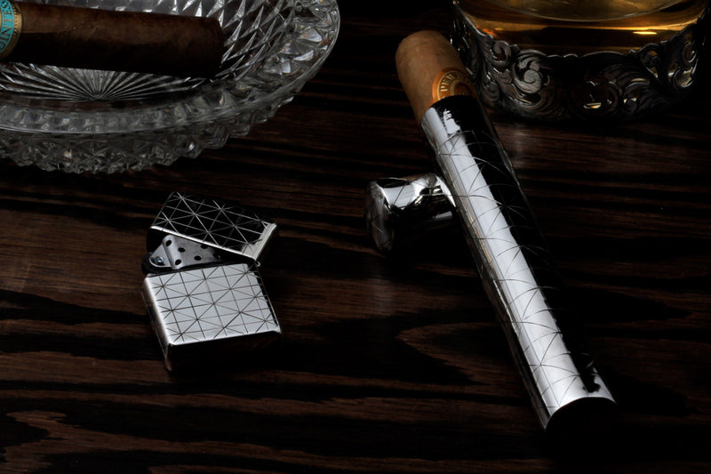Herringbone Cigar Tube and Zippo Set
