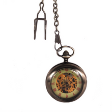 Load image into Gallery viewer, Clear Face Roman Mechanical Movement Skeleton Pocket Watch