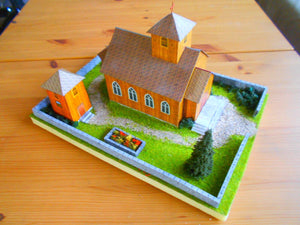 Old Wood Church Diorama Summer Setting