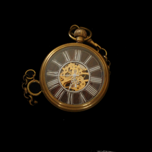 Load image into Gallery viewer, Brass Case Mechanical Movement Skeleton Pocket Watch
