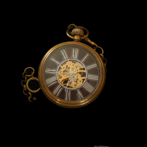 Brass Case Mechanical Movement Skeleton Pocket Watch
