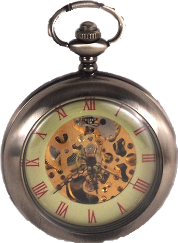 Clear Face Roman Mechanical Movement Skeleton Pocket Watch