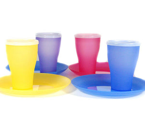 Reusable Plates And Cups With Lids 4 Person Picnic Party Travel