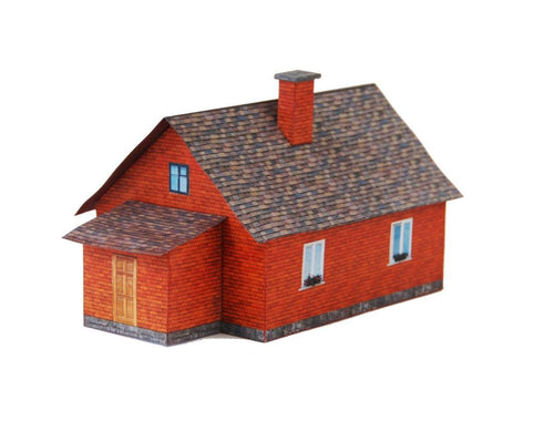 Brick Single Family House Carton Model Plan 8