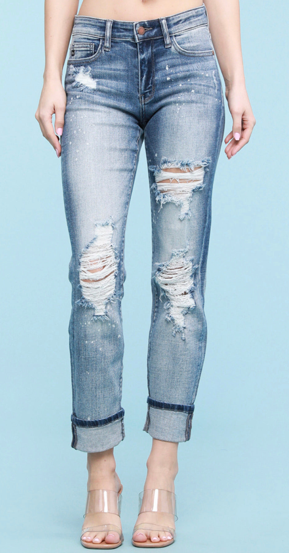 Judy Blue Calm In The Storm Bleach Splash Boyfriend Jeans