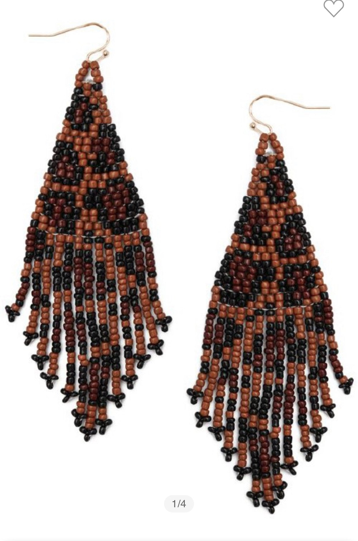 Beaded Earrings Brown