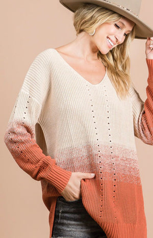 Rust Ombre Knit Sweater
