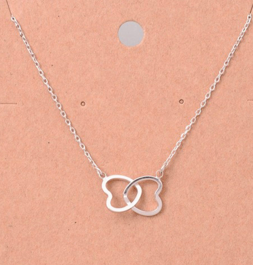Linked Hearts Necklace Silver or Rose Gold