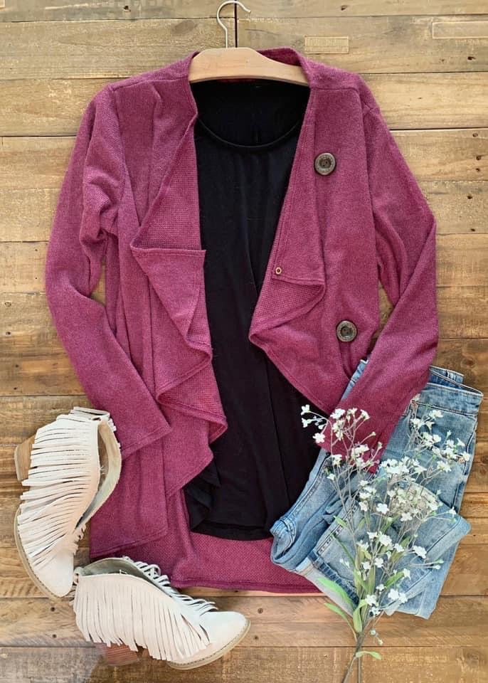 Lisa Wrap Cardigan in Plum