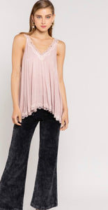 The Camille Lace Tank Blush