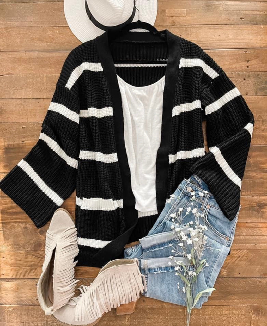 Mindy Black & White Stripe Cardigan