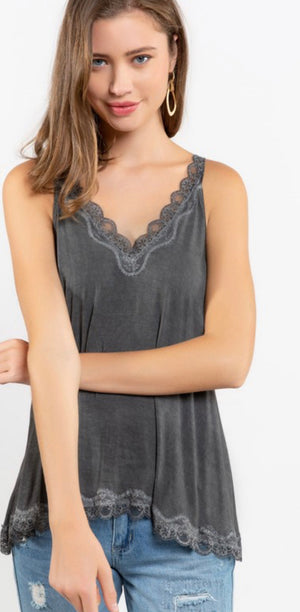 The Camille Lace Tank New Black