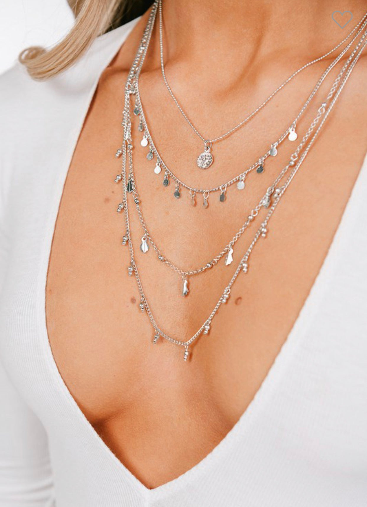 Multi Boho Layered Necklace Silver