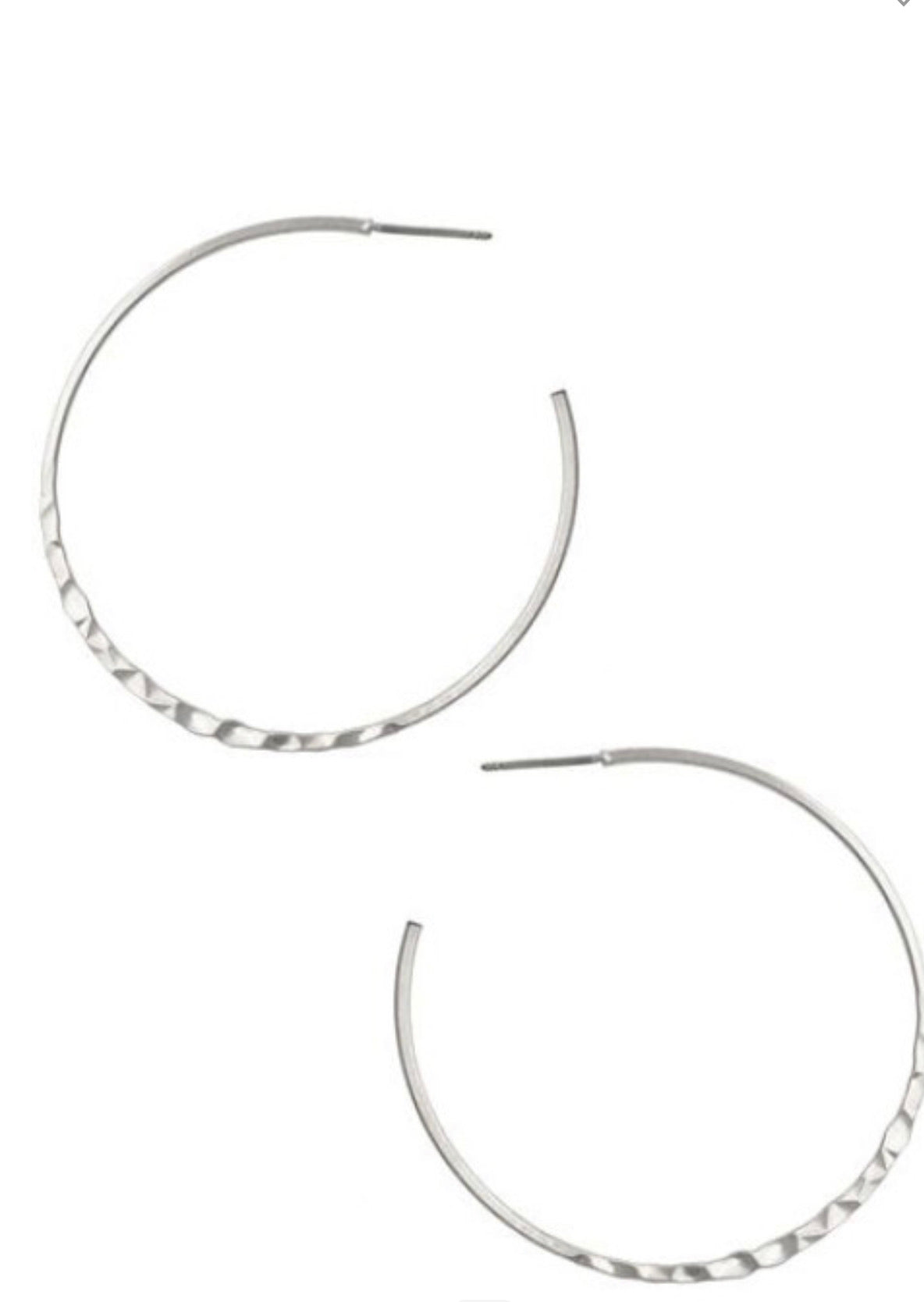Hammered Hoops Antique Silver