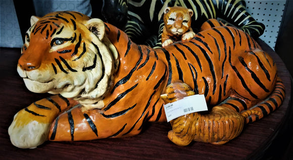 Ceramic Painted Laying Tiger Statue