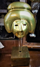 Load image into Gallery viewer, 1970's Brass Geisha Mask On Lucite & Wood Stand