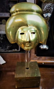 1970's Brass Geisha Mask On Lucite & Wood Stand