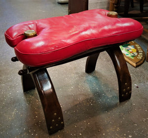 Red Cushioned Camel Saddle / Chair / Stool, Dark Wood