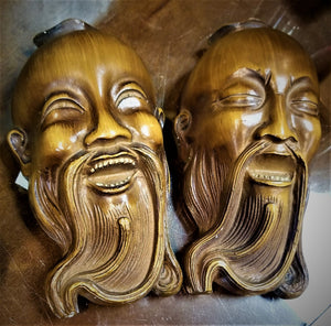 "Pair of Chinese ""Drama"" Heads; Crying Head & Laughing Head"
