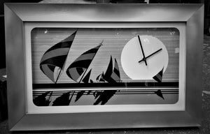 1976 Welby Shadow Box Nautical Black and White Wall Clock